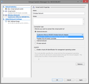 Creating a virtual switch for hyper-v