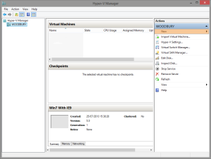 Hyper-V Manager creating a new virtual machine