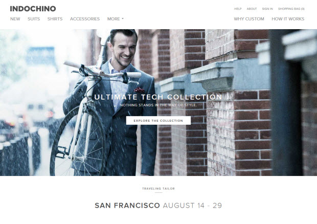 Best ecommerce design - Indochino