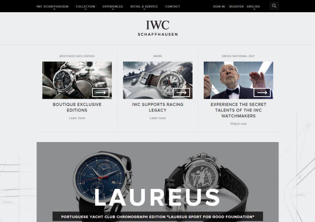 Best ecommerce design - IWC Watches