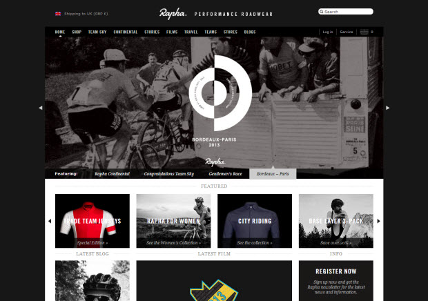 Best ecommerce design - Rapha