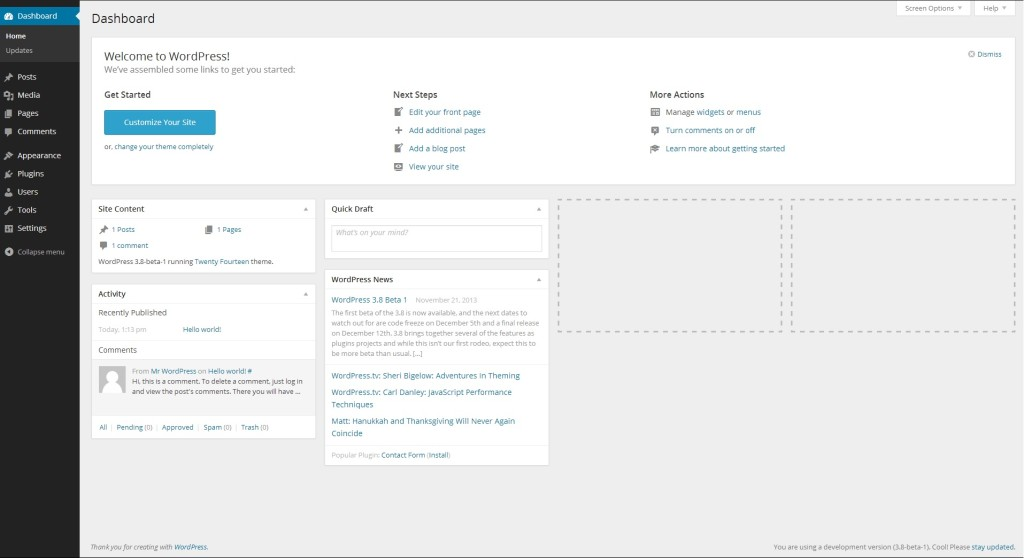 WordPress 3.8 Beta – Admin redesign
