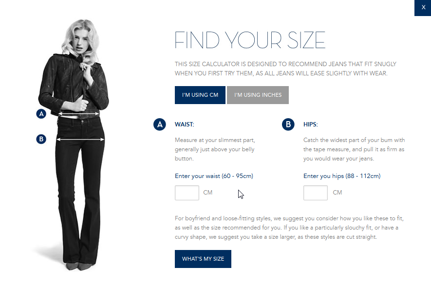 MiH Jeans Size Guide