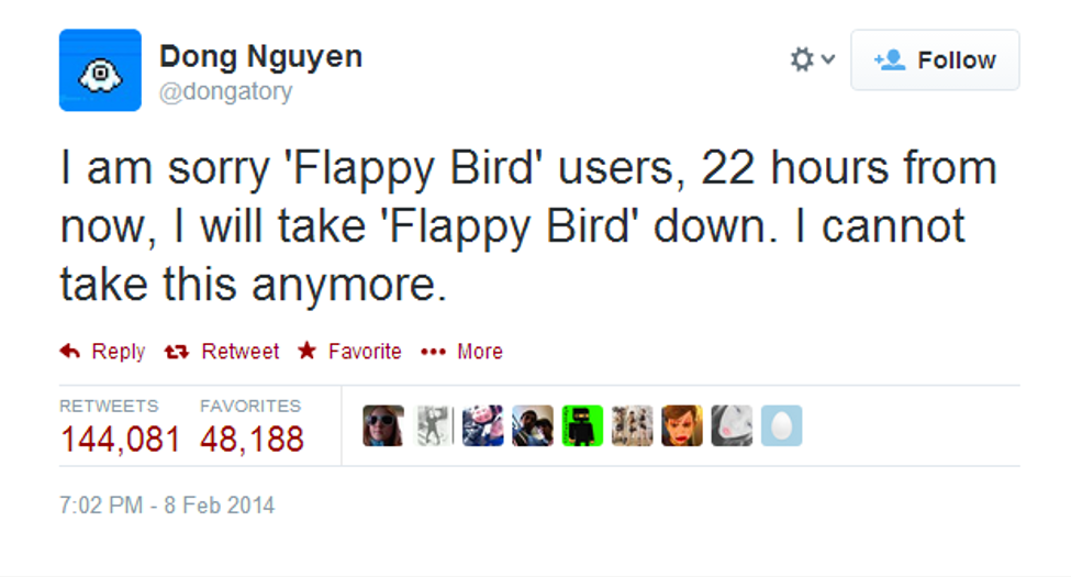 Flappy Birds announcement on Twitter