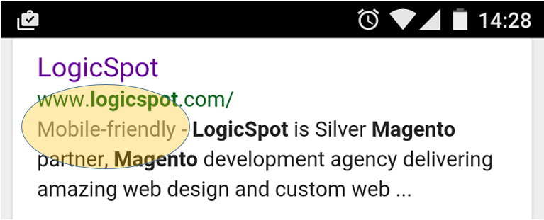 mobile friendly snippet in Google
