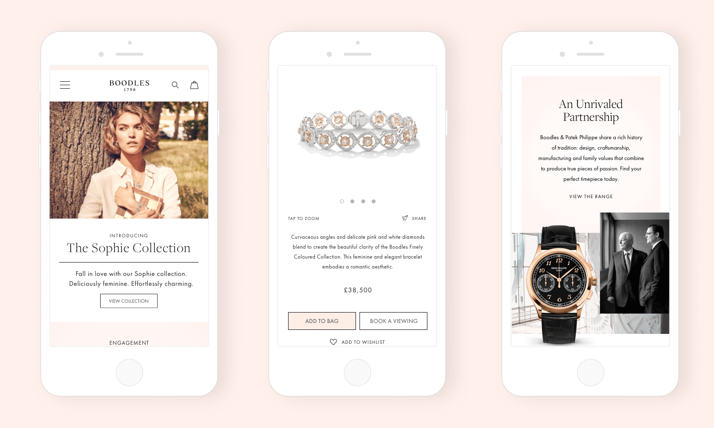 Boodles mobile screens
