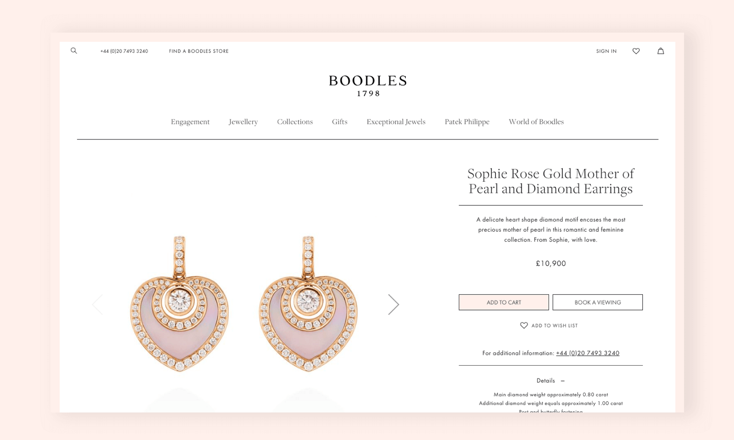 Boodles PDP screen