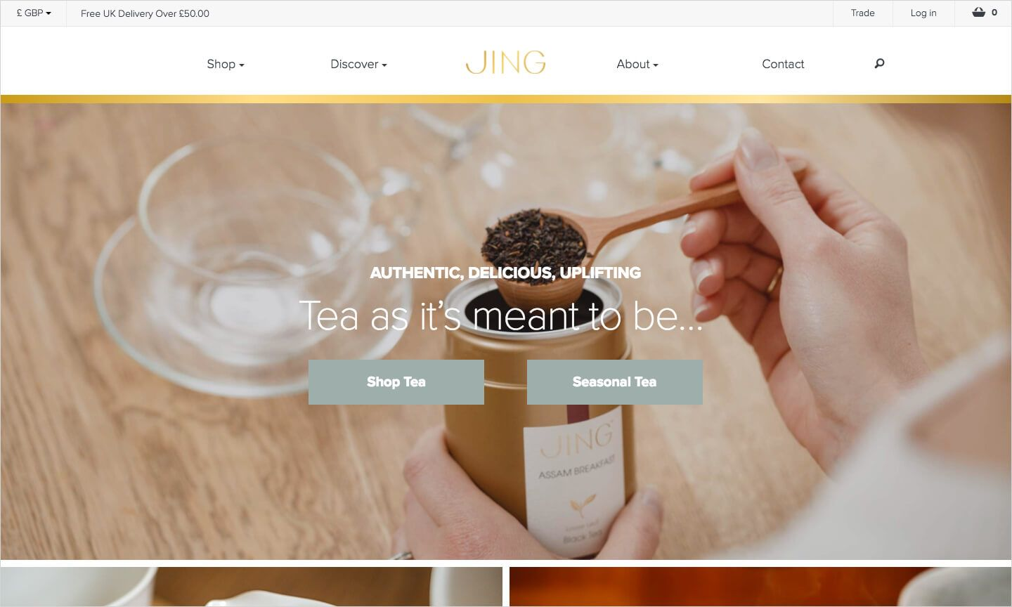 JING Tea homepage
