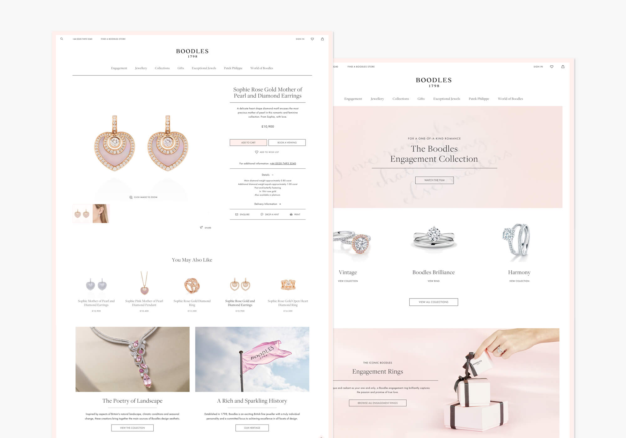 Boodles product page - Finalist Imagine Excellence Awards 2018